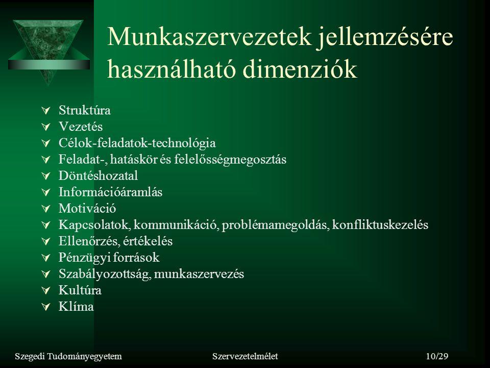 Szegedi TudományegyetemSzervezetelmélet10/29 Munkaszervezetek jellemzésére használható dimenziók  Struktúra  Vezetés  Célok-feladatok-technológia 