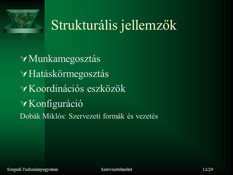 Szegedi TudományegyetemSzervezetelmélet12/29 Strukturális jellemzők  Munkamegosztás  Hatáskörmegosztás  Koordinációs eszközök  Konfiguráció Dobák