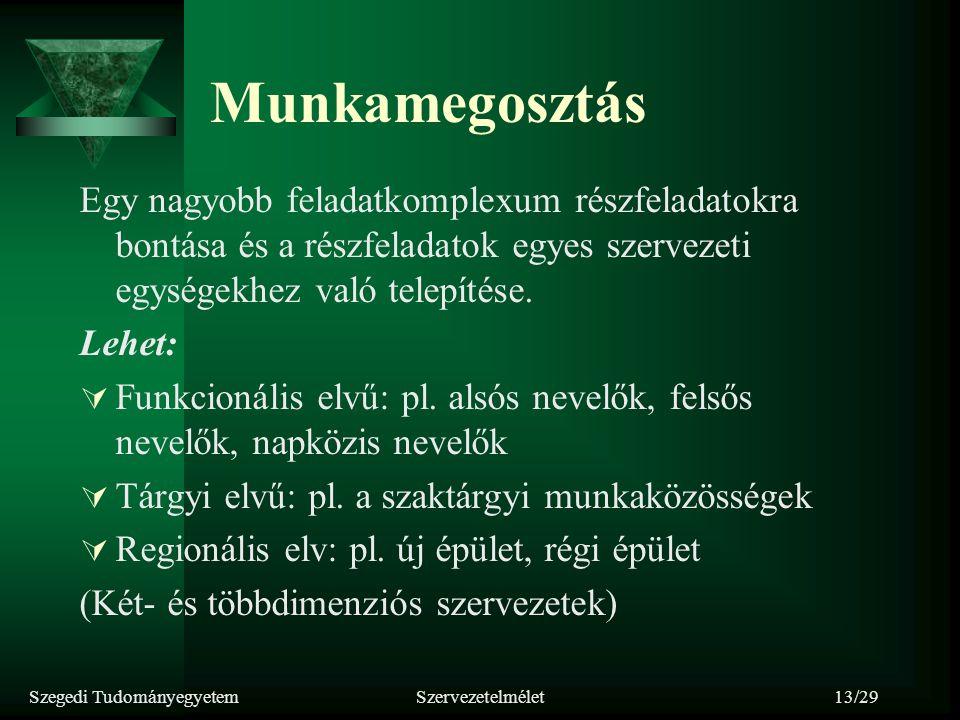 Szegedi TudományegyetemSzervezetelmélet13/29 Munkamegosztás Egy nagyobb feladatkomplexum részfeladatokra bontása és a részfeladatok egyes szervezeti e
