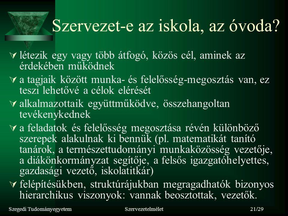 Szegedi TudományegyetemSzervezetelmélet21/29 Szervezet-e az iskola, az óvoda?  létezik egy vagy több átfogó, közös cél, aminek az érdekében működnek