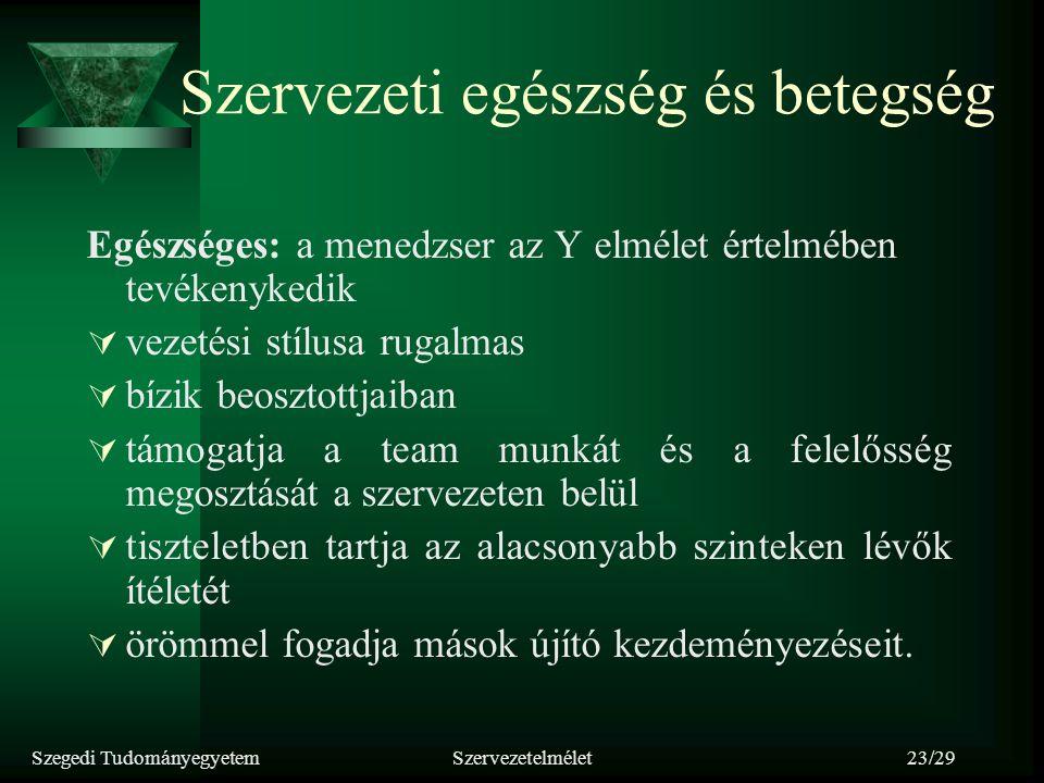 Szegedi TudományegyetemSzervezetelmélet23/29 Szervezeti egészség és betegség Egészséges: a menedzser az Y elmélet értelmében tevékenykedik  vezetési