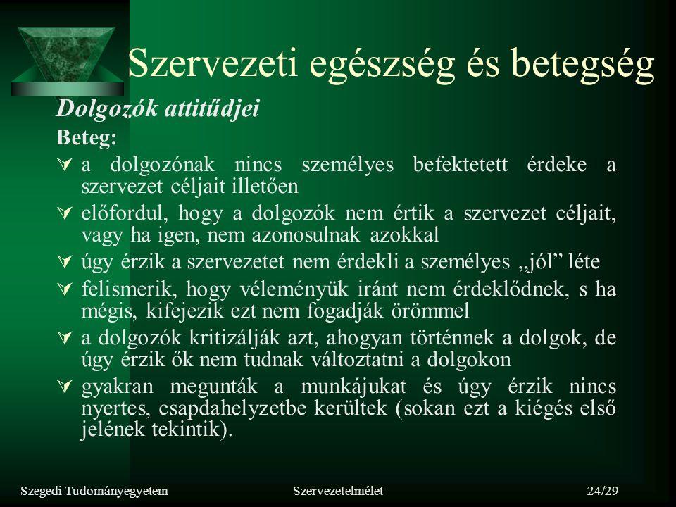 Szegedi TudományegyetemSzervezetelmélet24/29 Szervezeti egészség és betegség Dolgozók attitűdjei Beteg:  a dolgozónak nincs személyes befektetett érd