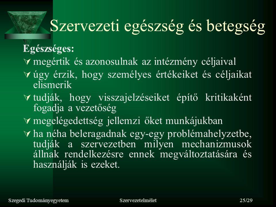 Szegedi TudományegyetemSzervezetelmélet25/29 Szervezeti egészség és betegség Egészséges:  megértik és azonosulnak az intézmény céljaival  úgy érzik,