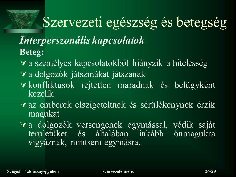 Szegedi TudományegyetemSzervezetelmélet26/29 Szervezeti egészség és betegség Interperszonális kapcsolatok Beteg:  a személyes kapcsolatokból hiányzik