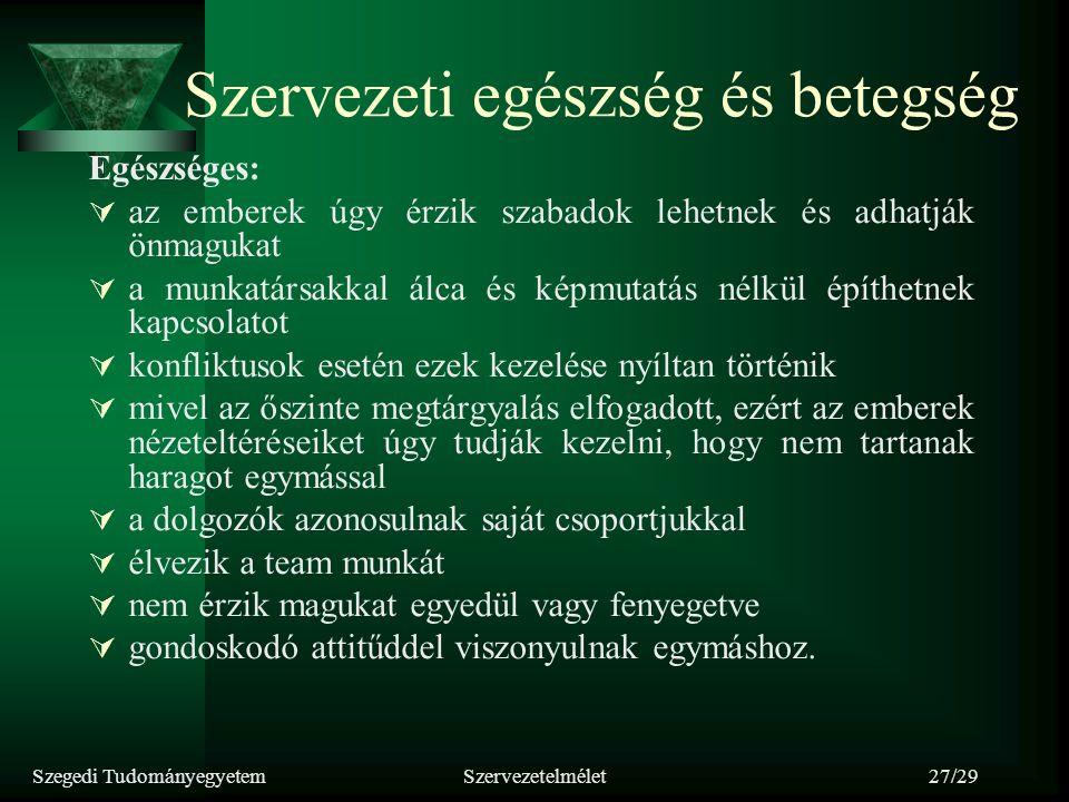 Szegedi TudományegyetemSzervezetelmélet27/29 Szervezeti egészség és betegség Egészséges:  az emberek úgy érzik szabadok lehetnek és adhatják önmaguka