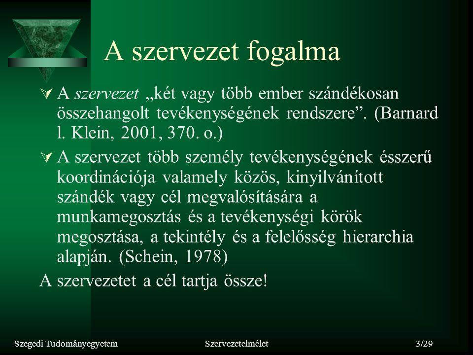 Szegedi TudományegyetemSzervezetelmélet4/29 Szervezet Jellemzői:  Nyitott rendszer, állandó kölcsönhatásban van a környezetével.