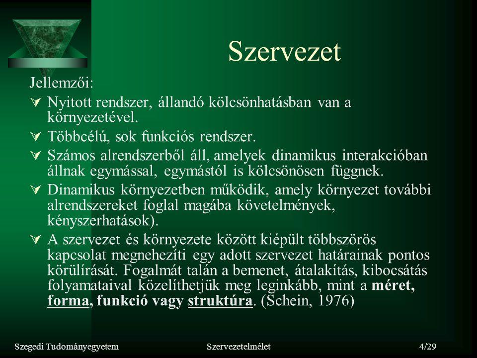 Szegedi TudományegyetemSzervezetelmélet4/29 Szervezet Jellemzői:  Nyitott rendszer, állandó kölcsönhatásban van a környezetével.  Többcélú, sok funk