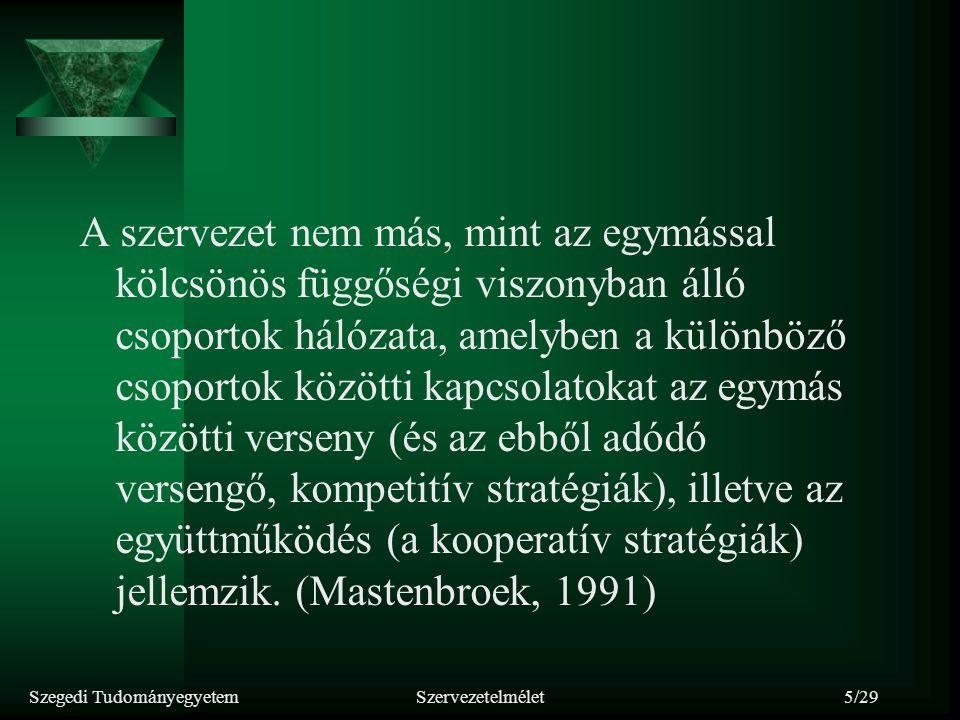 Szegedi TudományegyetemSzervezetelmélet5/29 A szervezet nem más, mint az egymással kölcsönös függőségi viszonyban álló csoportok hálózata, amelyben a