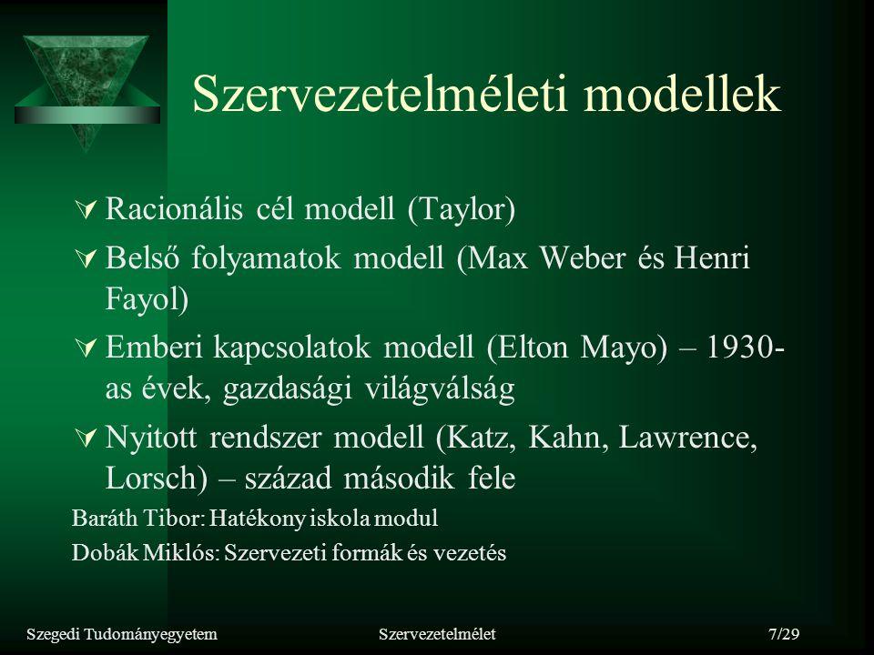 Szegedi TudományegyetemSzervezetelmélet7/29 Szervezetelméleti modellek  Racionális cél modell (Taylor)  Belső folyamatok modell (Max Weber és Henri