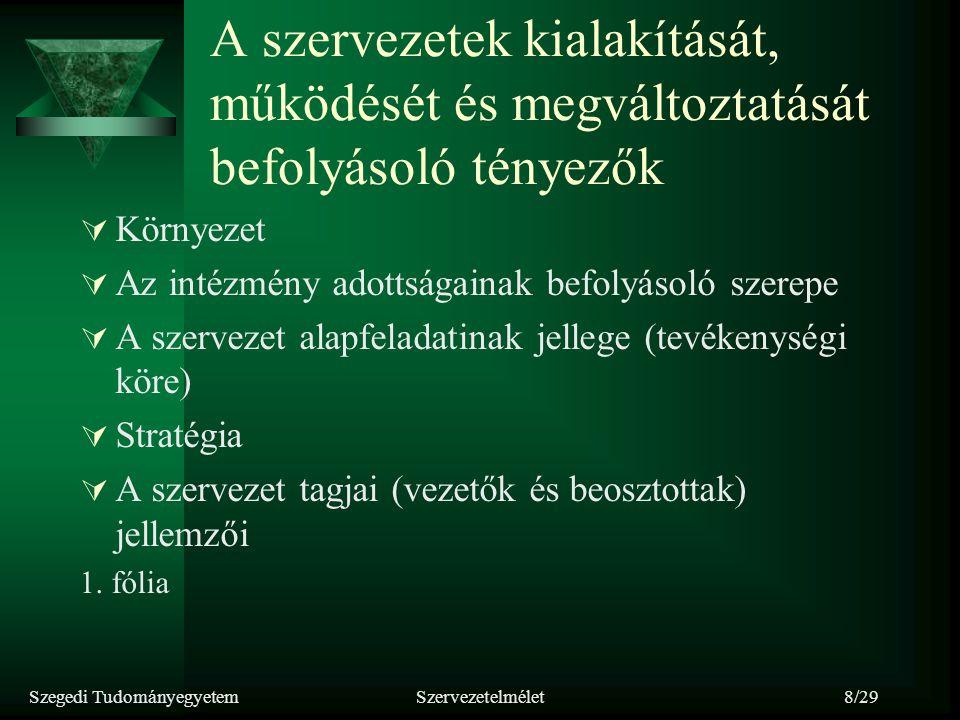 Szegedi TudományegyetemSzervezetelmélet8/29 A szervezetek kialakítását, működését és megváltoztatását befolyásoló tényezők  Környezet  Az intézmény