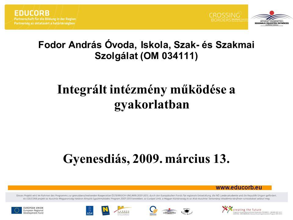 www.educorb.eu A döntés-előkészítés és a döntéshozatal fórumai (Stratégiai szint IV.) Igazgatótanács Döntési jogköre: –Az intézményegység-vezetői pályázatok kiírásának feltételeiről és ütemezéséről.