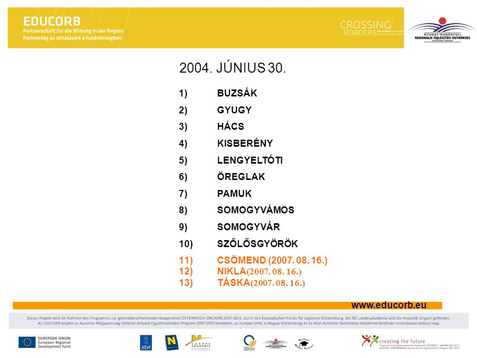 www.educorb.eu Szakmai munkaközösségek lehetőséget teremt a pedagógusoknak arra, hogy szakmai ismereteiket, tapasztalataikat más intézményekben folyó szakmai munka megismerésével is bővítsék a kollégák igényei alapján az igazgatók tettek javaslatot a fenntartóknak az egyes munkaközösségekre 13 szakmai munkaközösség