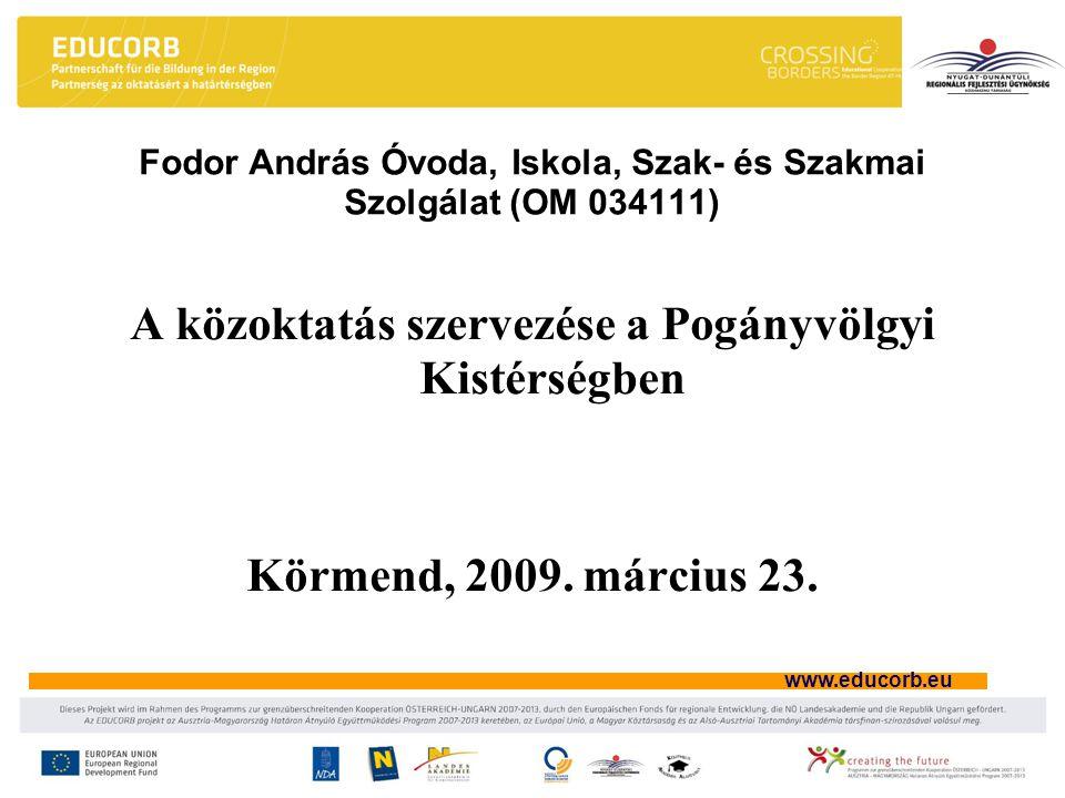 www.educorb.eu A közoktatás szervezése a Pogányvölgyi Kistérségben Körmend, 2009. március 23. Fodor András Óvoda, Iskola, Szak- és Szakmai Szolgálat (