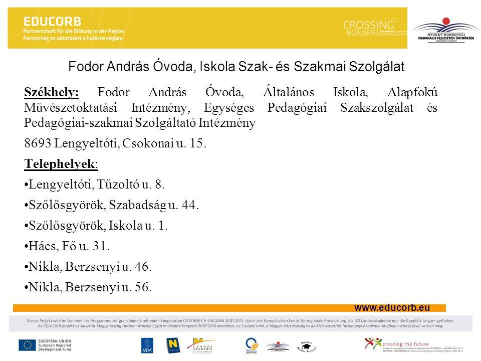www.educorb.eu Székhely: Fodor András Óvoda, Általános Iskola, Alapfokú Művészetoktatási Intézmény, Egységes Pedagógiai Szakszolgálat és Pedagógiai-sz