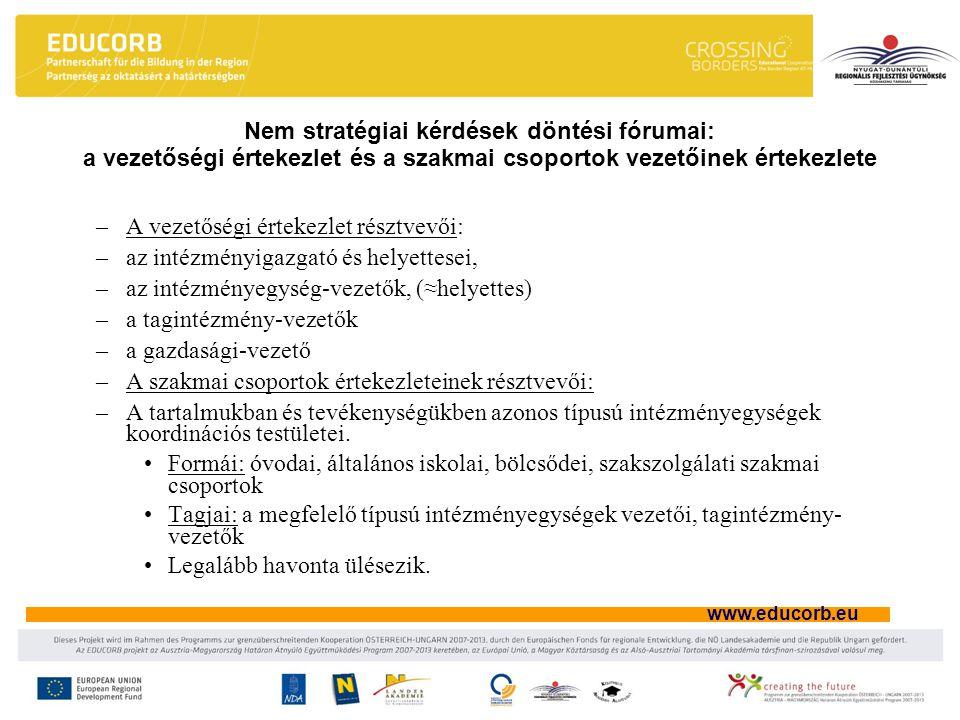 www.educorb.eu Nem stratégiai kérdések döntési fórumai: a vezetőségi értekezlet és a szakmai csoportok vezetőinek értekezlete –A vezetőségi értekezlet résztvevői: –az intézményigazgató és helyettesei, –az intézményegység-vezetők, (≈helyettes) –a tagintézmény-vezetők –a gazdasági-vezető –A szakmai csoportok értekezleteinek résztvevői: –A tartalmukban és tevékenységükben azonos típusú intézményegységek koordinációs testületei.