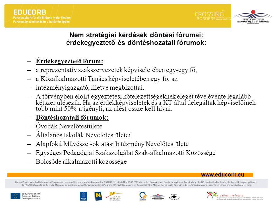 www.educorb.eu Nem stratégiai kérdések döntési fórumai: érdekegyeztető és döntéshozatali fórumok: –Érdekegyeztető fórum: –a reprezentatív szakszervezetek képviseletében egy-egy fő, –a Közalkalmazotti Tanács képviseletében egy fő, az –intézményigazgató, illetve megbízottai.