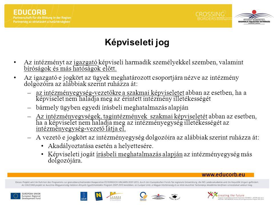www.educorb.eu Képviseleti jog Az intézményt az igazgató képviseli harmadik személyekkel szemben, valamint bíróságok és más hatóságok előtt. Az igazga