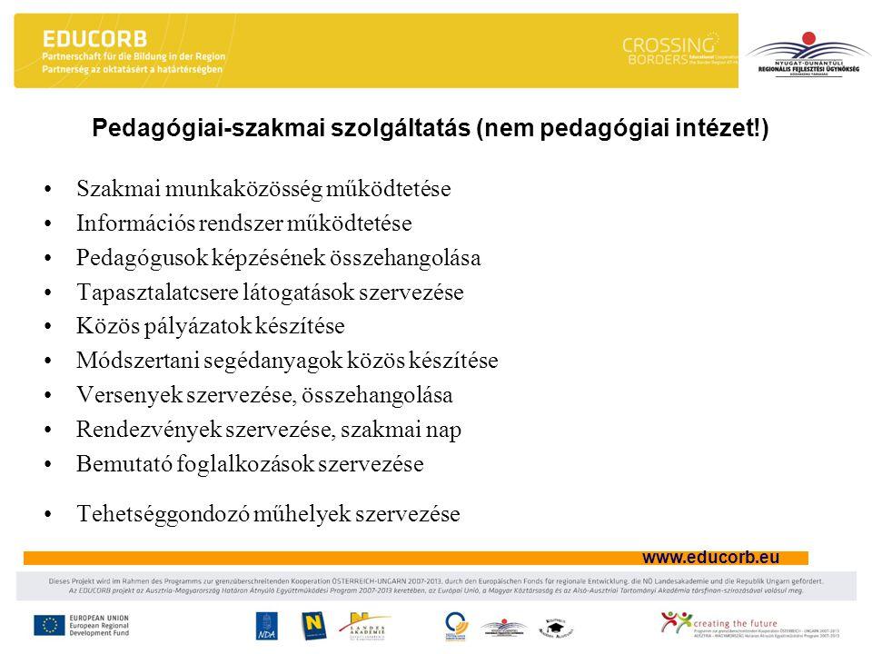 www.educorb.eu Pedagógiai-szakmai szolgáltatás (nem pedagógiai intézet!) Szakmai munkaközösség működtetése Információs rendszer működtetése Pedagógusok képzésének összehangolása Tapasztalatcsere látogatások szervezése Közös pályázatok készítése Módszertani segédanyagok közös készítése Versenyek szervezése, összehangolása Rendezvények szervezése, szakmai nap Bemutató foglalkozások szervezése Tehetséggondozó műhelyek szervezése
