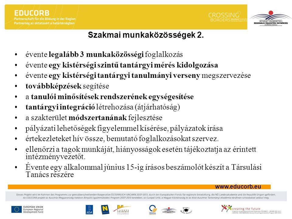 www.educorb.eu Szakmai munkaközösségek 2. évente legalább 3 munkaközösségi foglalkozás évente egy kistérségi szintű tantárgyi mérés kidolgozása évente