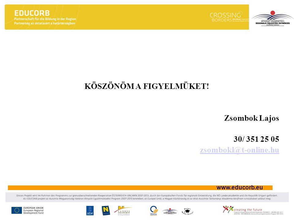 www.educorb.eu KÖSZÖNÖM A FIGYELMÜKET! Zsombok Lajos 30/ 351 25 05 zsombokl@t-online.hu