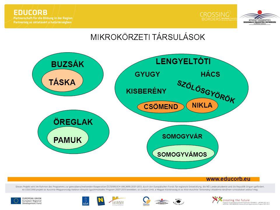 www.educorb.eu MIKROKÖRZETI TÁRSULÁSOK BUZSÁK LENGYELTÓTI TÁSKA GYUGYHÁCS KISBERÉNY SZŐLŐSGYÖRÖK ÖREGLAK PAMUK SOMOGYVÁR SOMOGYVÁMOS NIKLA CSÖMEND