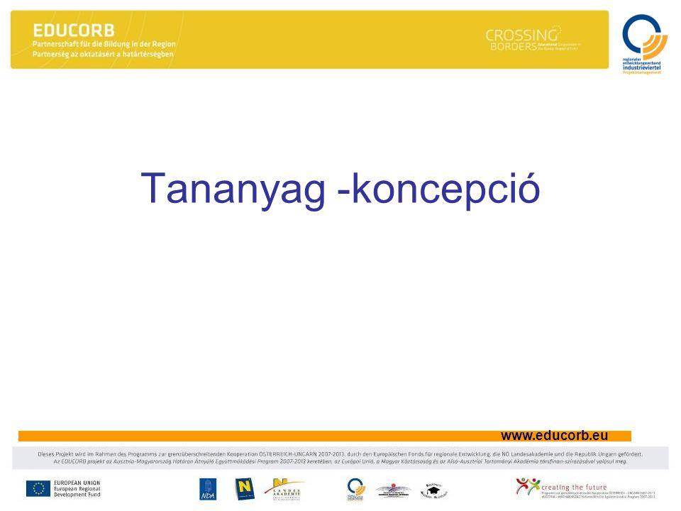 www.educorb.eu Tananyag -koncepció