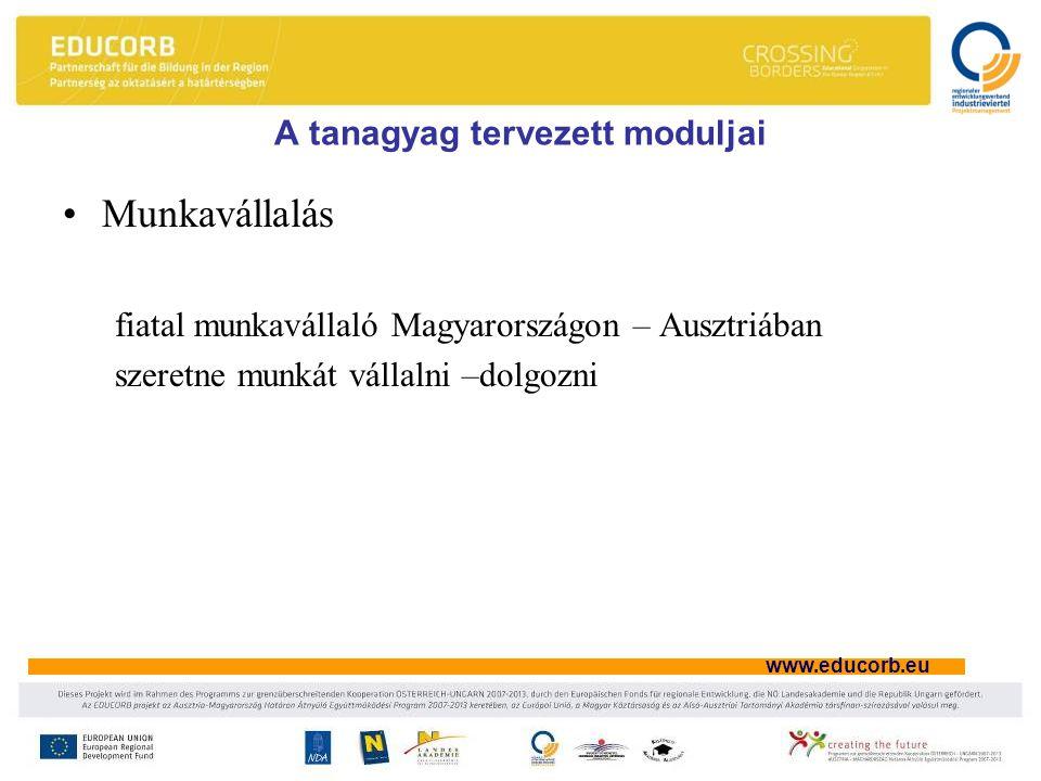 www.educorb.eu A tanagyag tervezett moduljai Munkavállalás fiatal munkavállaló Magyarországon – Ausztriában szeretne munkát vállalni –dolgozni