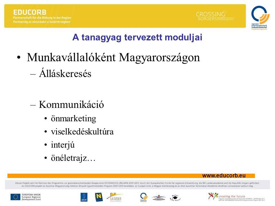 www.educorb.eu A tanagyag tervezett moduljai Munkavállalóként Magyarországon –Álláskeresés –Kommunikáció önmarketing viselkedéskultúra interjú önéletrajz…
