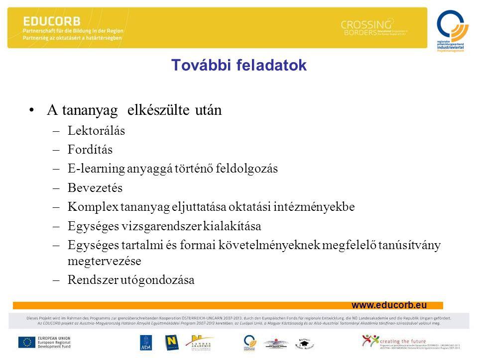 www.educorb.eu További feladatok A tananyag elkészülte után –Lektorálás –Fordítás –E-learning anyaggá történő feldolgozás –Bevezetés –Komplex tananyag eljuttatása oktatási intézményekbe –Egységes vizsgarendszer kialakítása –Egységes tartalmi és formai követelményeknek megfelelő tanúsítvány megtervezése –Rendszer utógondozása
