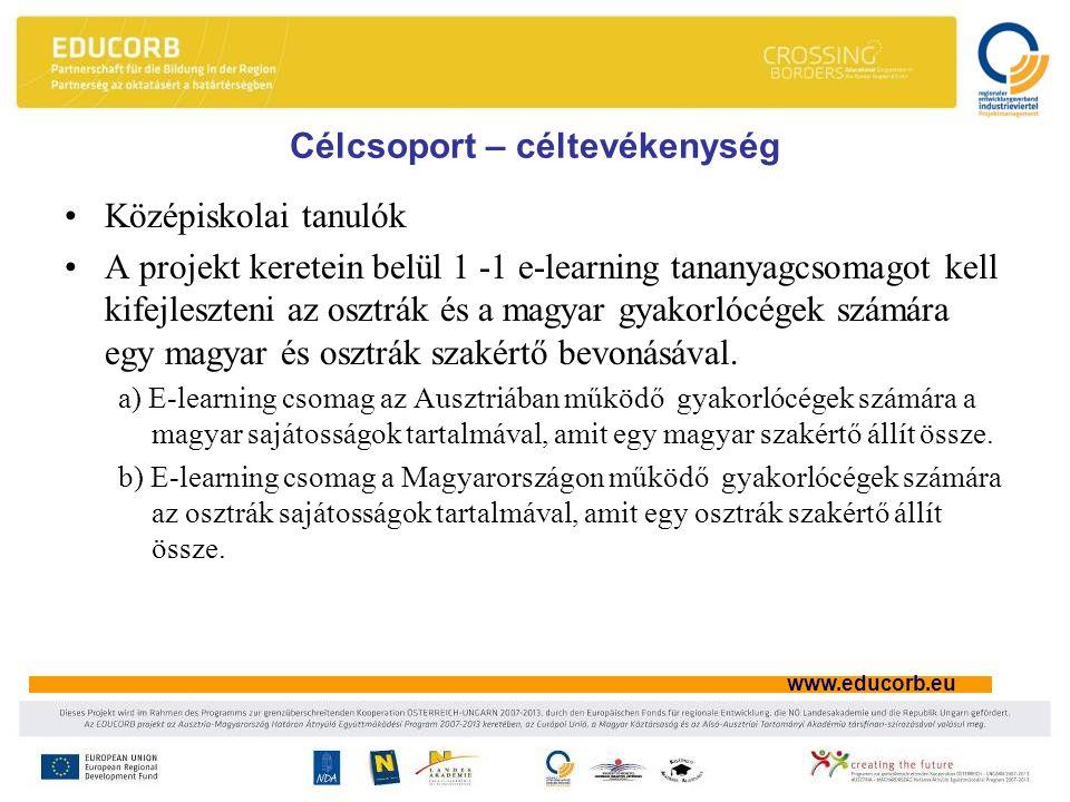 www.educorb.eu Célcsoport – céltevékenység Középiskolai tanulók A projekt keretein belül 1 -1 e-learning tananyagcsomagot kell kifejleszteni az osztrák és a magyar gyakorlócégek számára egy magyar és osztrák szakértő bevonásával.