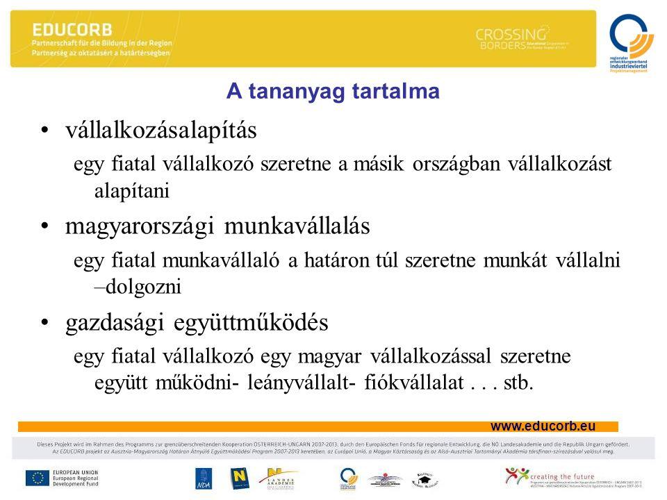 www.educorb.eu A tananyag tartalma vállalkozásalapítás egy fiatal vállalkozó szeretne a másik országban vállalkozást alapítani magyarországi munkavállalás egy fiatal munkavállaló a határon túl szeretne munkát vállalni –dolgozni gazdasági együttműködés egy fiatal vállalkozó egy magyar vállalkozással szeretne együtt működni- leányvállalt- fiókvállalat...