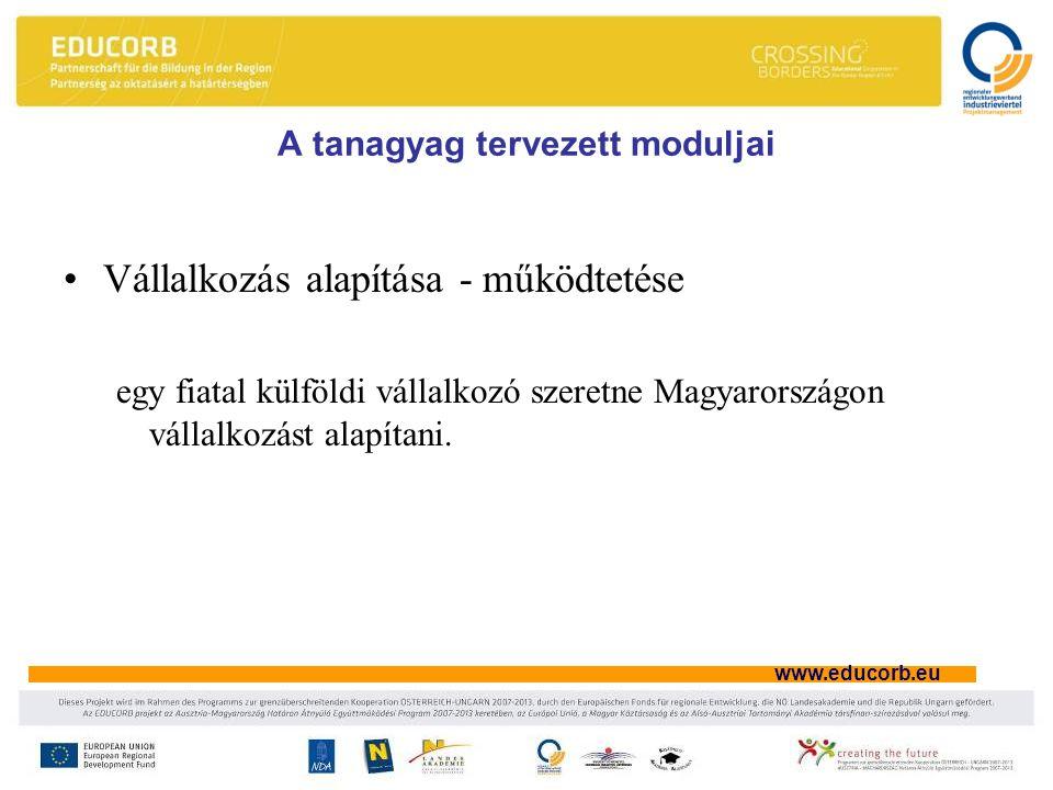 www.educorb.eu A tanagyag tervezett moduljai Vállalkozás alapítása - működtetése egy fiatal külföldi vállalkozó szeretne Magyarországon vállalkozást alapítani.