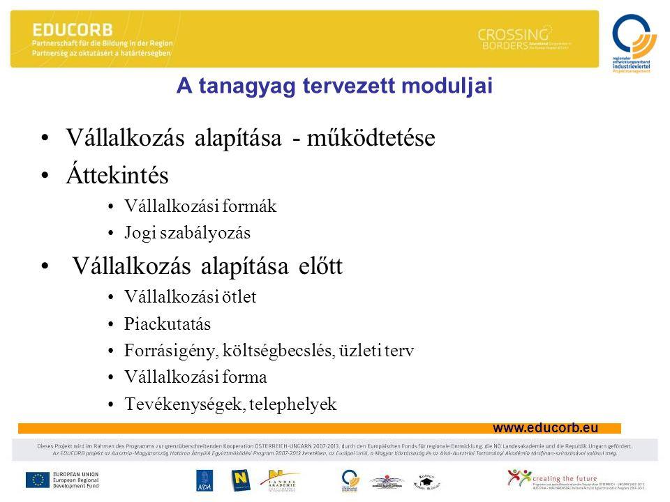 www.educorb.eu A tanagyag tervezett moduljai Vállalkozás alapítása - működtetése Áttekintés Vállalkozási formák Jogi szabályozás Vállalkozás alapítása előtt Vállalkozási ötlet Piackutatás Forrásigény, költségbecslés, üzleti terv Vállalkozási forma Tevékenységek, telephelyek