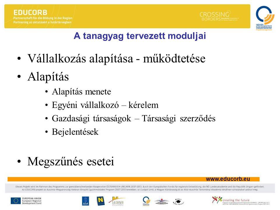 www.educorb.eu A tanagyag tervezett moduljai Vállalkozás alapítása - működtetése Alapítás Alapítás menete Egyéni vállalkozó – kérelem Gazdasági társaságok – Társasági szerződés Bejelentések Megszűnés esetei