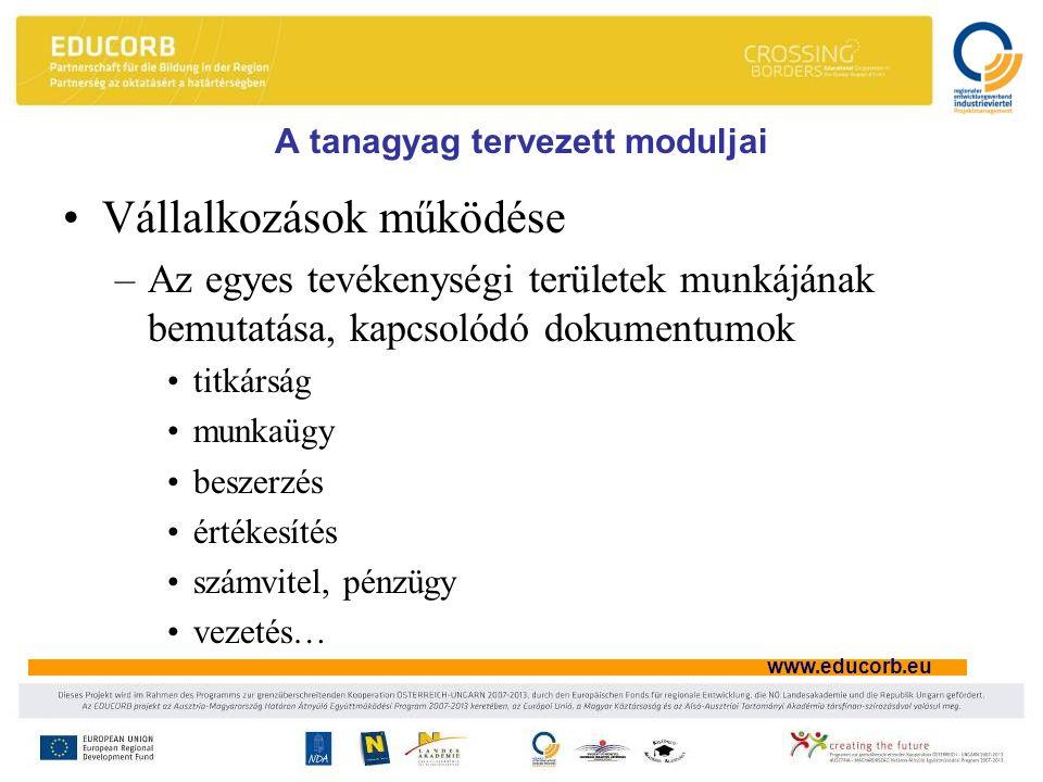 www.educorb.eu A tanagyag tervezett moduljai Vállalkozások működése –Az egyes tevékenységi területek munkájának bemutatása, kapcsolódó dokumentumok titkárság munkaügy beszerzés értékesítés számvitel, pénzügy vezetés…