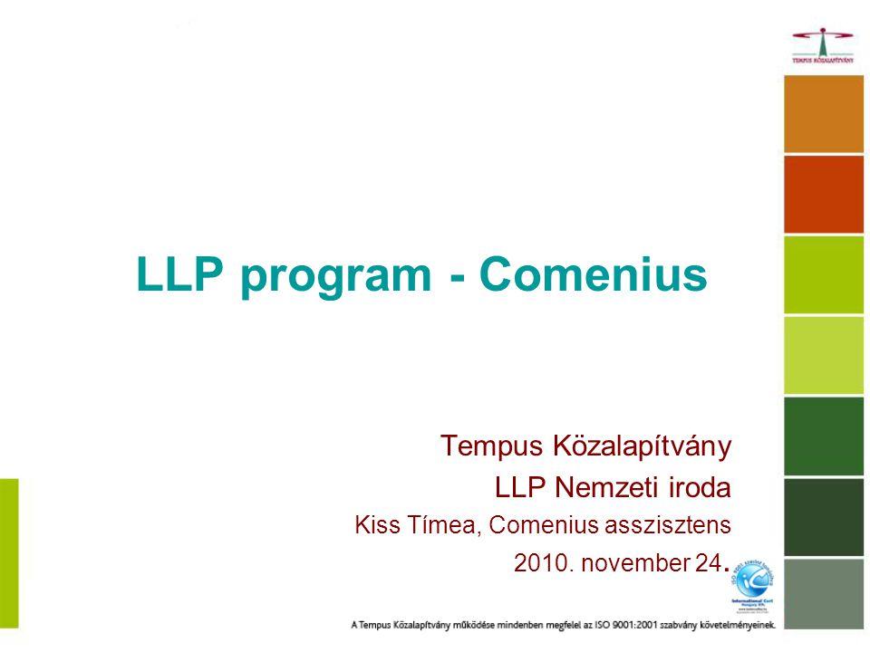 Egész életen át tartó tanulás program – LLP Comenius Közoktatás Erasmus Felsőoktatás és felsőfokú szakképzés Leonardo da Vinci Grundtvig Felnőttoktatás Transzverzális programok 4 kulcstevékenység – Szakmapolitika; Nyelvtanulás; IKT; Valorizáció Jean Monnet program Jean Monnet Akció; Európai Intézmények; Európai Szövetségek