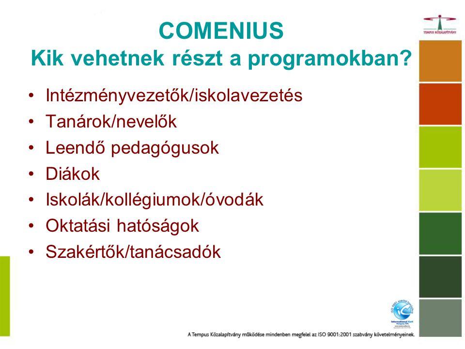 COMENIUS Kik vehetnek részt a programokban.