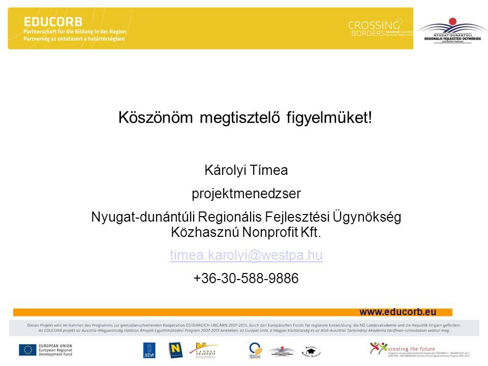www.educorb.eu Köszönöm megtisztelő figyelmüket.