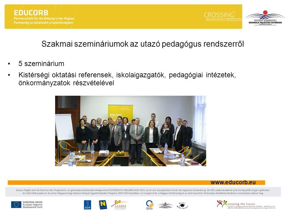 www.educorb.eu Szemináriumok célja Az utazó tanári hálózat osztrák jó gyakorlatának megismerése és megértése Jó gyakorlatok átadása a régió pedagógusai számára A régió tapasztalatainak összegyűjtése az utazótanári gyakorlattal kapcsolatban, összevetve az osztrák példával.