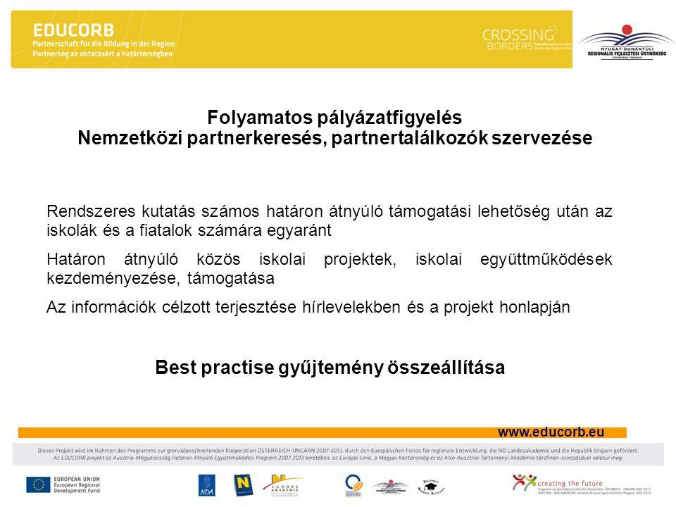 www.educorb.eu Folyamatos pályázatfigyelés Nemzetközi partnerkeresés, partnertalálkozók szervezése Rendszeres kutatás számos határon átnyúló támogatási lehetőség után az iskolák és a fiatalok számára egyaránt Határon átnyúló közös iskolai projektek, iskolai együttműködések kezdeményezése, támogatása Az információk célzott terjesztése hírlevelekben és a projekt honlapján Best practise gyűjtemény összeállítása
