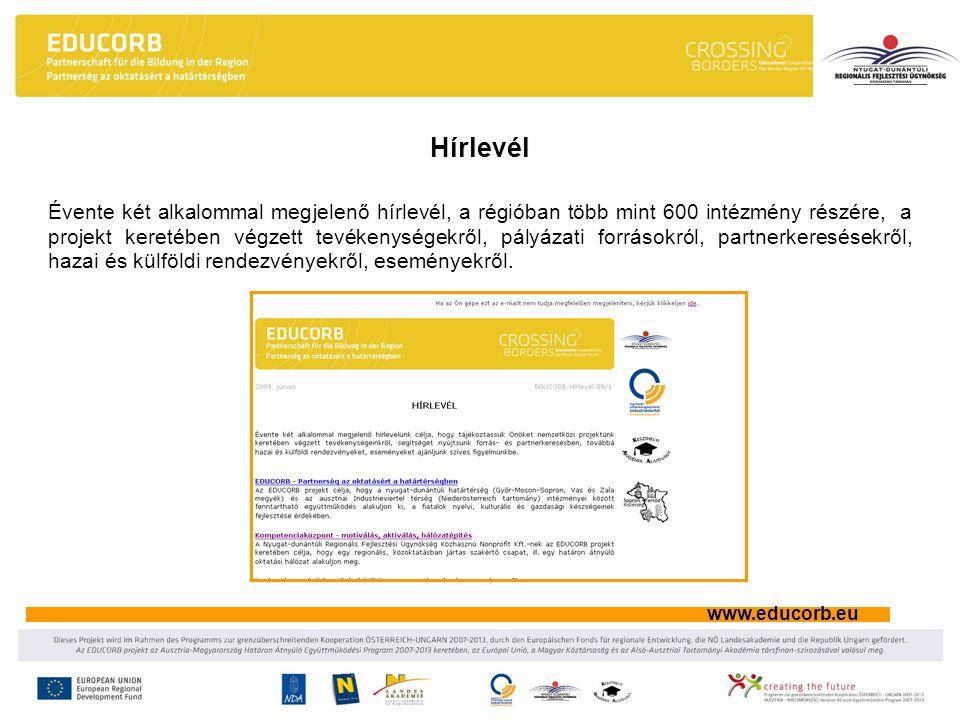 www.educorb.eu Hírlevél Évente két alkalommal megjelenő hírlevél, a régióban több mint 600 intézmény részére, a projekt keretében végzett tevékenységekről, pályázati forrásokról, partnerkeresésekről, hazai és külföldi rendezvényekről, eseményekről.