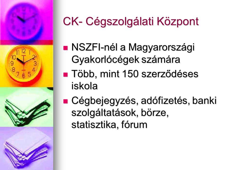 CK- Cégszolgálati Központ NSZFI-nél a Magyarországi Gyakorlócégek számára NSZFI-nél a Magyarországi Gyakorlócégek számára Több, mint 150 szerződéses iskola Több, mint 150 szerződéses iskola Cégbejegyzés, adófizetés, banki szolgáltatások, börze, statisztika, fórum Cégbejegyzés, adófizetés, banki szolgáltatások, börze, statisztika, fórum