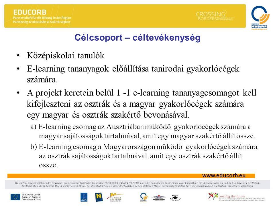 www.educorb.eu Célcsoport – céltevékenység Középiskolai tanulók E-learning tananyagok előállítása tanirodai gyakorlócégek számára.