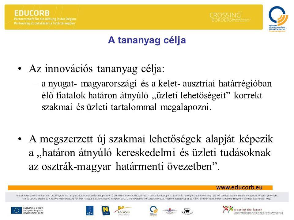 """www.educorb.eu A tananyag célja Az innovációs tananyag célja: –a nyugat- magyarországi és a kelet- ausztriai határrégióban élő fiatalok határon átnyúló """"üzleti lehetőségeit korrekt szakmai és üzleti tartalommal megalapozni."""