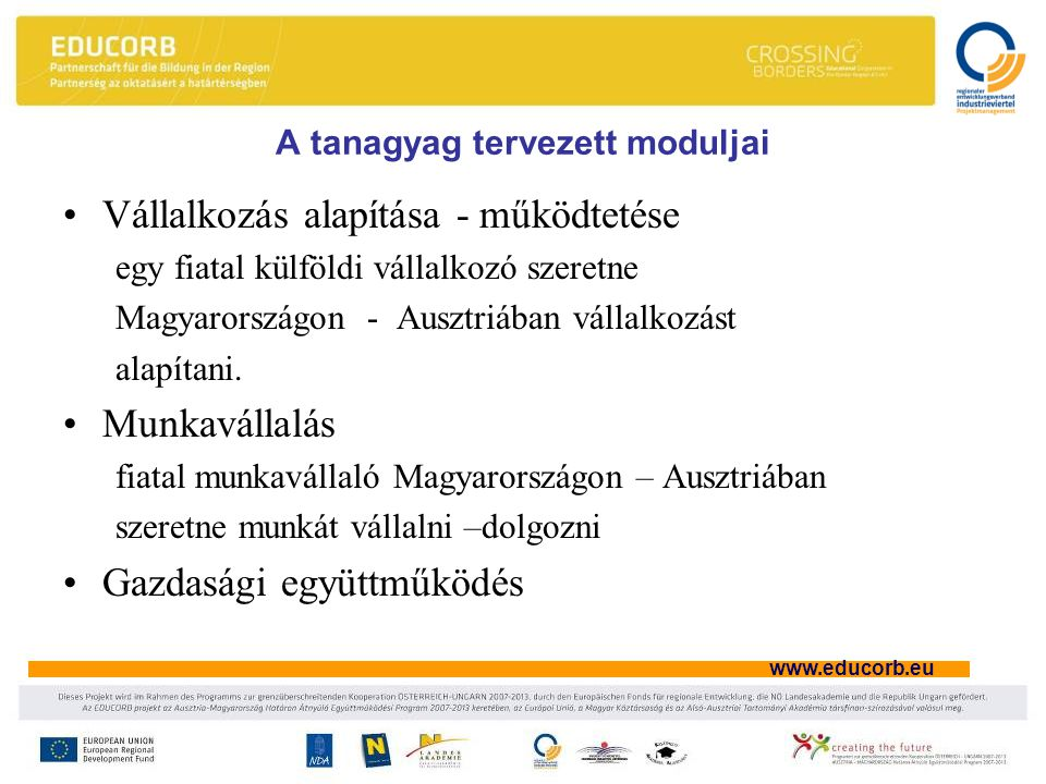 www.educorb.eu A tanagyag tervezett moduljai Vállalkozás alapítása - működtetése egy fiatal külföldi vállalkozó szeretne Magyarországon - Ausztriában vállalkozást alapítani.
