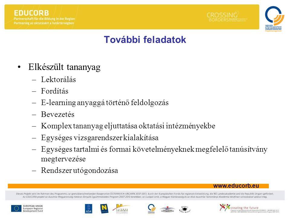 www.educorb.eu További feladatok Elkészült tananyag –Lektorálás –Fordítás –E-learning anyaggá történő feldolgozás –Bevezetés –Komplex tananyag eljuttatása oktatási intézményekbe –Egységes vizsgarendszer kialakítása –Egységes tartalmi és formai követelményeknek megfelelő tanúsítvány megtervezése –Rendszer utógondozása
