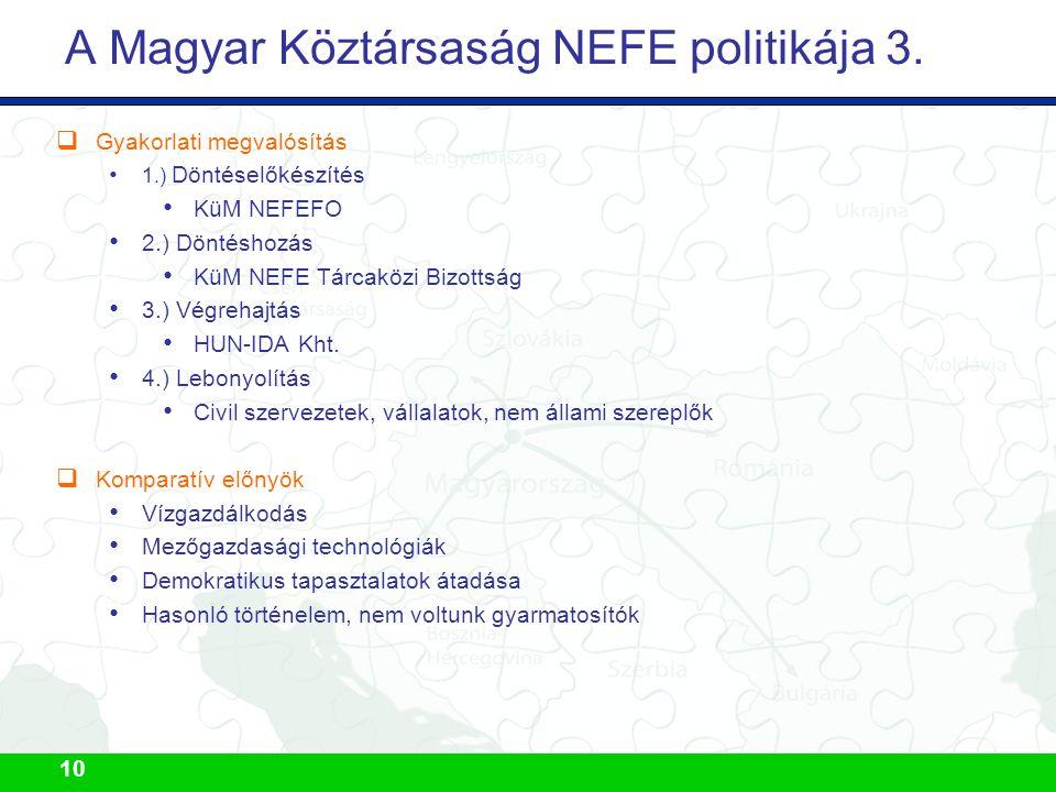 10 A Magyar Köztársaság NEFE politikája 3.  Gyakorlati megvalósítás 1.) Döntéselőkészítés KüM NEFEFO 2.) Döntéshozás KüM NEFE Tárcaközi Bizottság 3.)