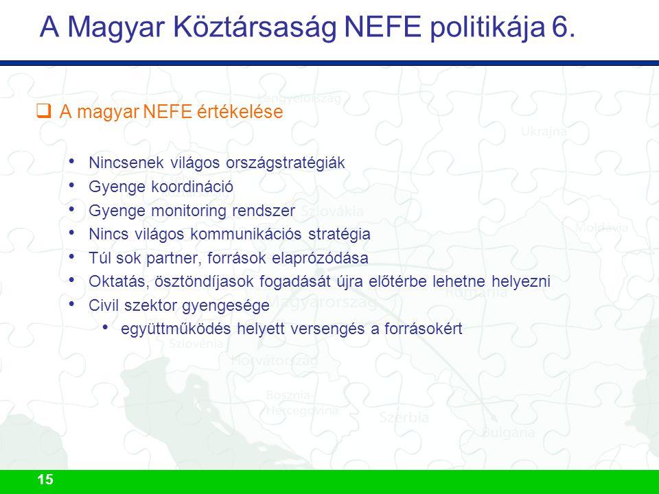 15 A Magyar Köztársaság NEFE politikája 6.  A magyar NEFE értékelése Nincsenek világos országstratégiák Gyenge koordináció Gyenge monitoring rendszer