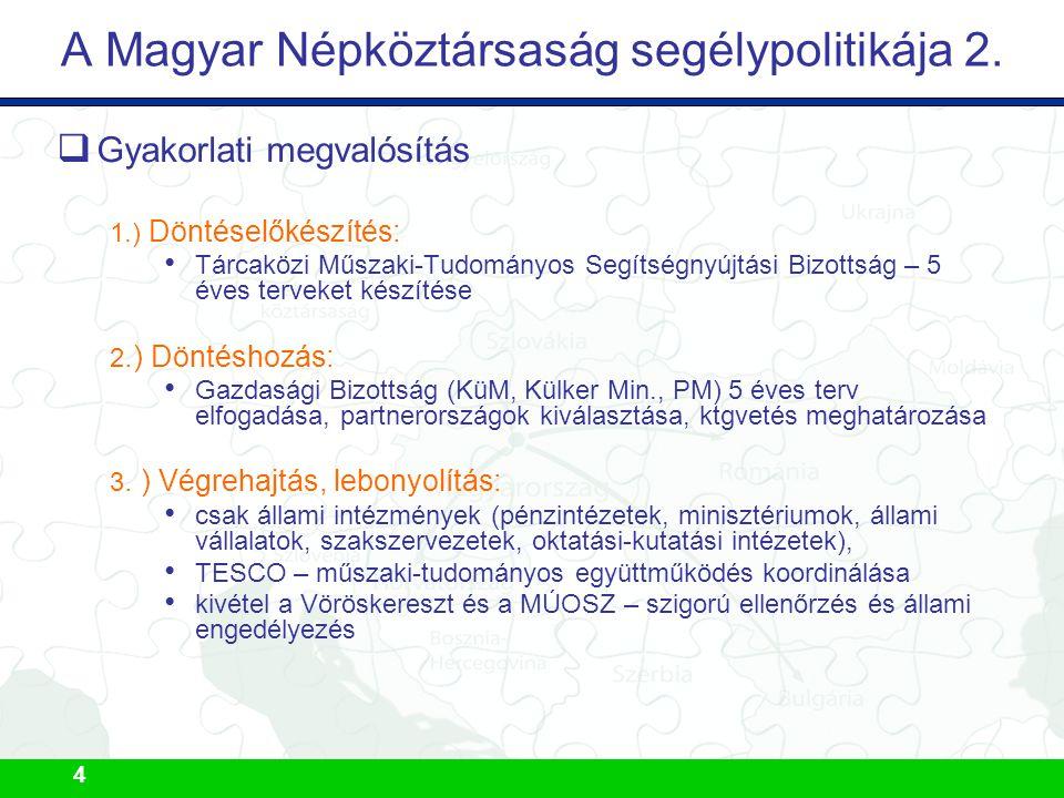 4 A Magyar Népköztársaság segélypolitikája 2.  Gyakorlati megvalósítás 1.) Döntéselőkészítés: Tárcaközi Műszaki-Tudományos Segítségnyújtási Bizottság
