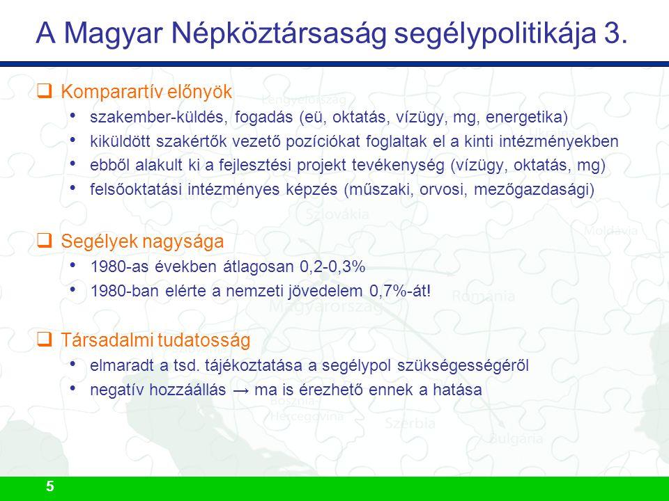 5 A Magyar Népköztársaság segélypolitikája 3.  Komparartív előnyök szakember-küldés, fogadás (eü, oktatás, vízügy, mg, energetika) kiküldött szakértő